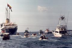 Queen Elizabeth II Royal Yacht Britannia durinv visit to Bahamas Feb. 20-21, 1975