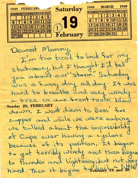 01 Kathrine Lamkin 1949 Cape tornado letter